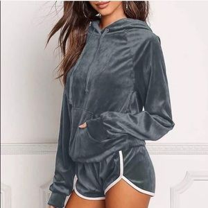 Other - Velvet Shorts & Hoodie Set